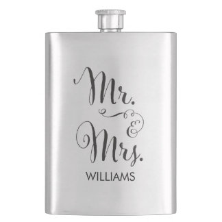 Mr. & Mrs. Fancy Script Flask