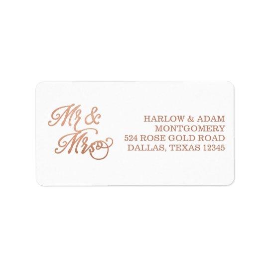 Mr & Mrs Faux Copper Label