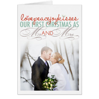 Mr & Mrs First Christmas Love Photo Greeting Card