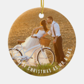 Mr & Mrs First Christmas Wedding Photo Ornament