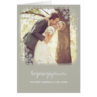 Mr & Mrs First Christmas Wedding Snowflakes Card