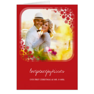 Mr Mrs First Christmas Wedding Snowflakes Card