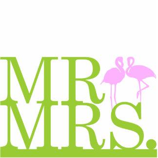 Mr & Mrs Flamingo 2 Cake Topper Standing Photo Sculpture