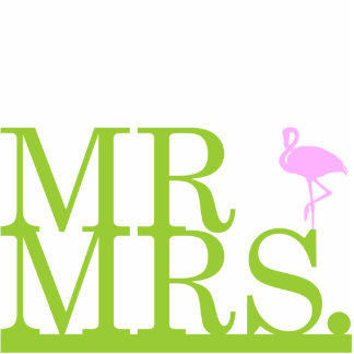 Mr & Mrs Flamingo Cake Topper Standing Photo Sculpture
