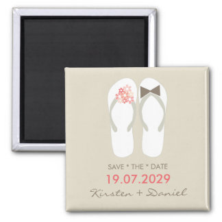 Mr & Mrs Flip Flops Beach Save The Date Magnet