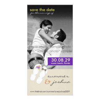 Mr & Mrs Flip Flops Beach Save The Date Photo Card