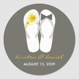 Mr & Mrs Flip Flops Hibiscus Beach Wedding Sticker