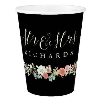 Mr & Mrs Floral Garden Wedding Paper Cups