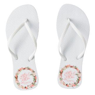 Mr & Mrs Floral Spring Wedding Flip Flops