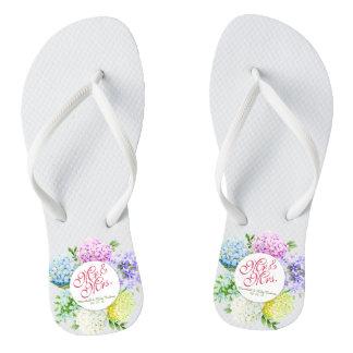 Mr. & Mrs. Floral Spring Wedding Flip Flops