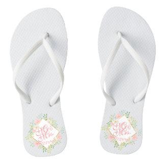 Mr & Mrs Floral Watercolor Wedding Flip Flops