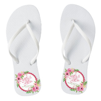 Mr. & Mrs. Floral Watercolor Wedding Flip Flops