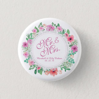 Mr. & Mrs. Floral Watercolor Wedding Pin Button