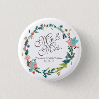 Mr. & Mrs. Floral Wreath w/ Birds Wedding Button