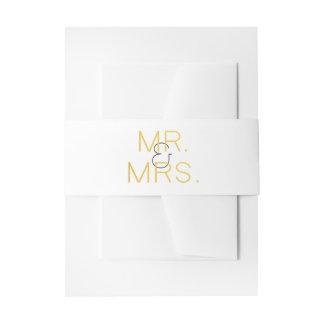 Mr. & Mrs. Gold Elegant Typography Wedding Invitation Belly Band