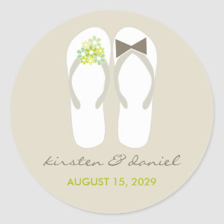 Mr & Mrs Green Flip Flops Beach Wedding Sticker
