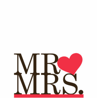 Mr & Mrs Heart Cake Topper Standing Photo Sculpture