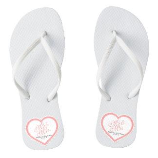 Mr. & Mrs. Heart Frame Wedding Flip Flops