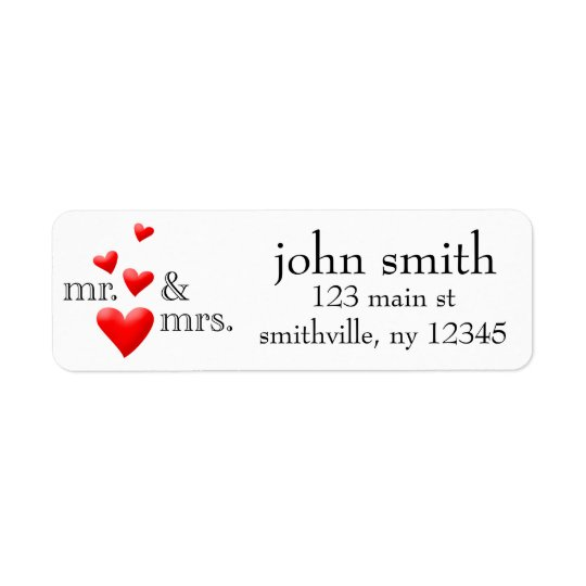Mr & Mrs Hearts Address Labelled Return Address Label