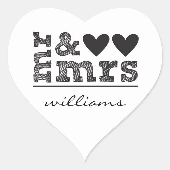 Mr. & Mrs. Hearts Sticker