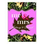 Mr & Mrs Hunting Camo Pink Wedding Invitations