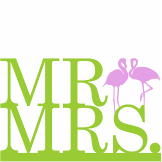 Mr & Mrs Lime & Lavender Flamingos Cake Topper Standing Photo Sculpture