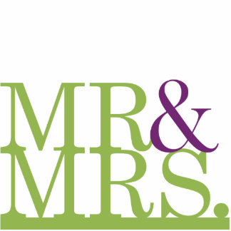 Mr & Mrs Lime & Purple Ampersand Cake Topper Standing Photo Sculpture