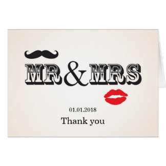 Mr & Mrs Lips & Moustache Wedding thank you card