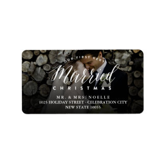 Mr & Mrs Married 1st Christmas Holiday Photo Label Address Label
