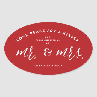 Mr & Mrs Married First Christmas Holiday Sticker