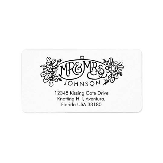 Mr & Mrs mistletoe drawing reply address labels