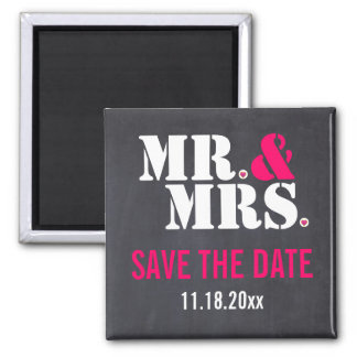 Mr. & Mrs. Modern typography wedding Save the Date Square Magnet