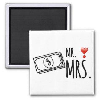 Mr. & Mrs. Money Square Magnet