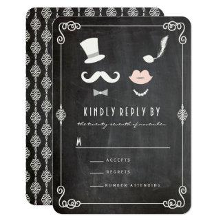 Mr & Mrs Moustache Lips Vintage Chic Wedding RSVP Card