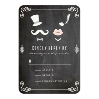 Mr & Mrs Moustache Lips Vintage Chic Wedding RSVP Card