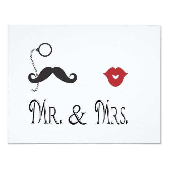 Mr. & Mrs. Moustache & Lips Wedding Invitations