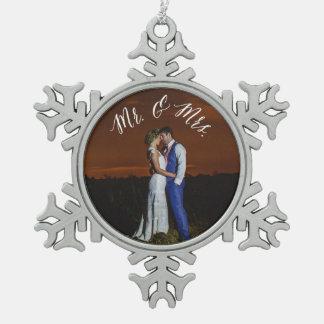 Mr. & Mrs. Newly Weds Pewter Keepsake Ornament