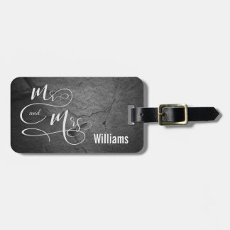 Mr. & Mrs. on dark gray stone Luggage Tag
