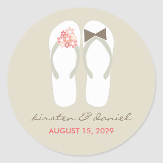 Mr & Mrs Pink Flip Flops Beach Wedding Sticker