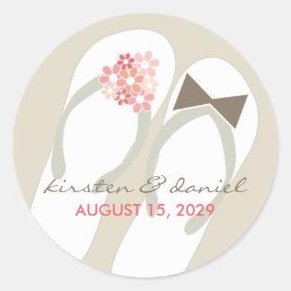 Mr & Mrs Pink Flip Flops Beach Wedding Sticker