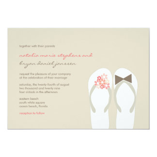 Mr & Mrs Pink Flip Flops Cute Beach Wedding Invite