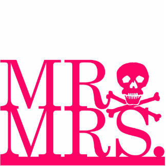 Mr & Mrs Pink Skull Cake Topper Photo Cut Out