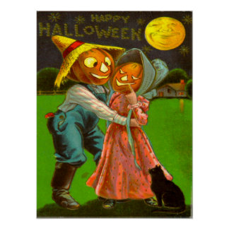 Mr & Mrs Pumpkin With Their Black Cat Poster