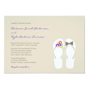 866c332078f42d Mr   Mrs Purple Flip Flops Beach Wedding Invite