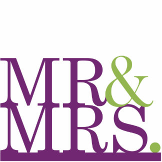Mr & Mrs Purple & Lime Ampersand Cake Topper Standing Photo Sculpture