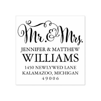 Mr. & Mrs. | Return Address Rubber Stamp