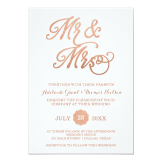 Mr & Mrs Rose Gold Wedding Invitation