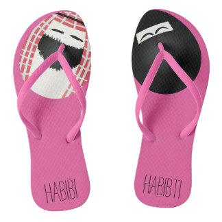 Mr. & Mrs Saudi Egg Habibi and Habibti Pink Flip Flops
