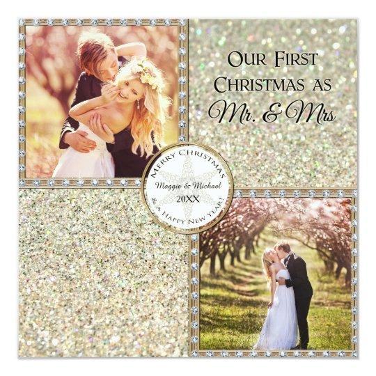 Mr. & Mrs. Shimmer Glitter Look Christmas Photo Card