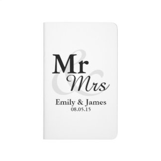 Mr&Mrs Simple Elegant Typography Wedding Favor Journal